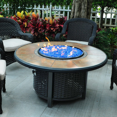 Tretco 48 inch Round Wicker Fire Pit Table - PatioElegance