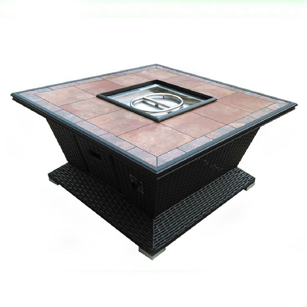 BUNDLE 48 inch Square Wicker Fire Pit with 30 lbs Reflective Fire Glass FREE