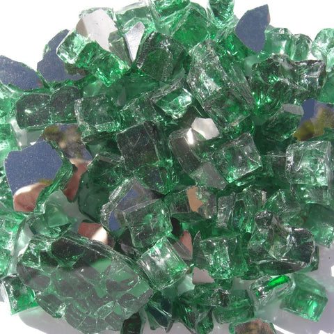 1/2 inch Forest Green Reflective Fire Glass Crystals - PatioElegance