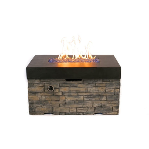 Tretco Linear Stacked Stone Fire Pit Table - PatioElegance