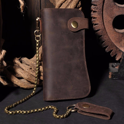 Vintage Genuine Leather Chain Wallet
