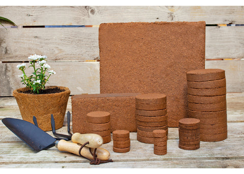 coco coir bricks, coco disks, compressed coco, coco pots