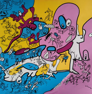 Painting 80*80 Yellow Pink Blue