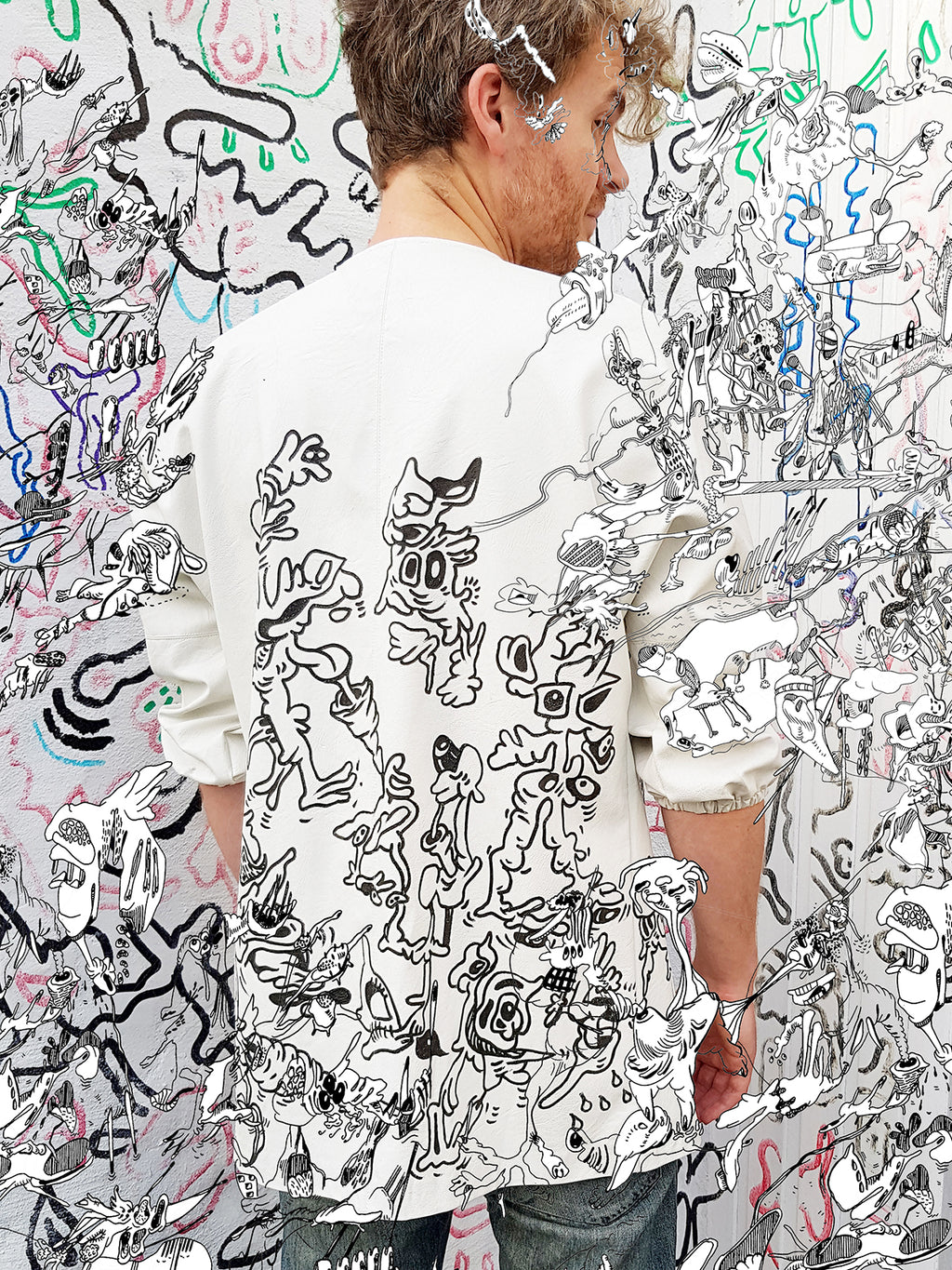 Jook doodle jacket - unique piece - original artwork - no print - size 40 - L