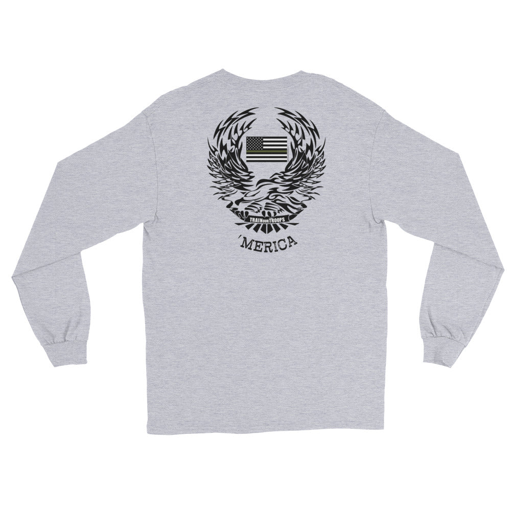Men's Long Sleeve: 'Merica-TrainOurTroops-TrainOurTroops
