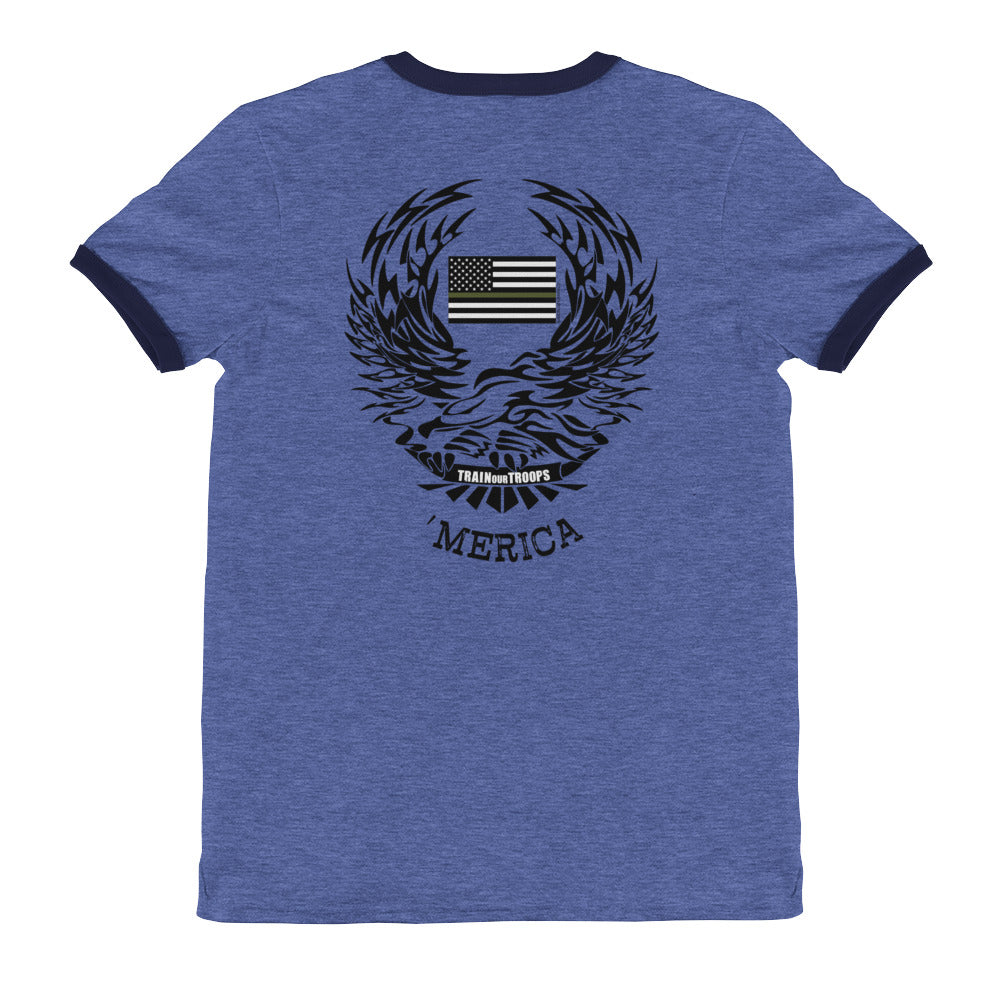 Men's Ringer Tee: 'Merica-TrainOurTroops-TrainOurTroops