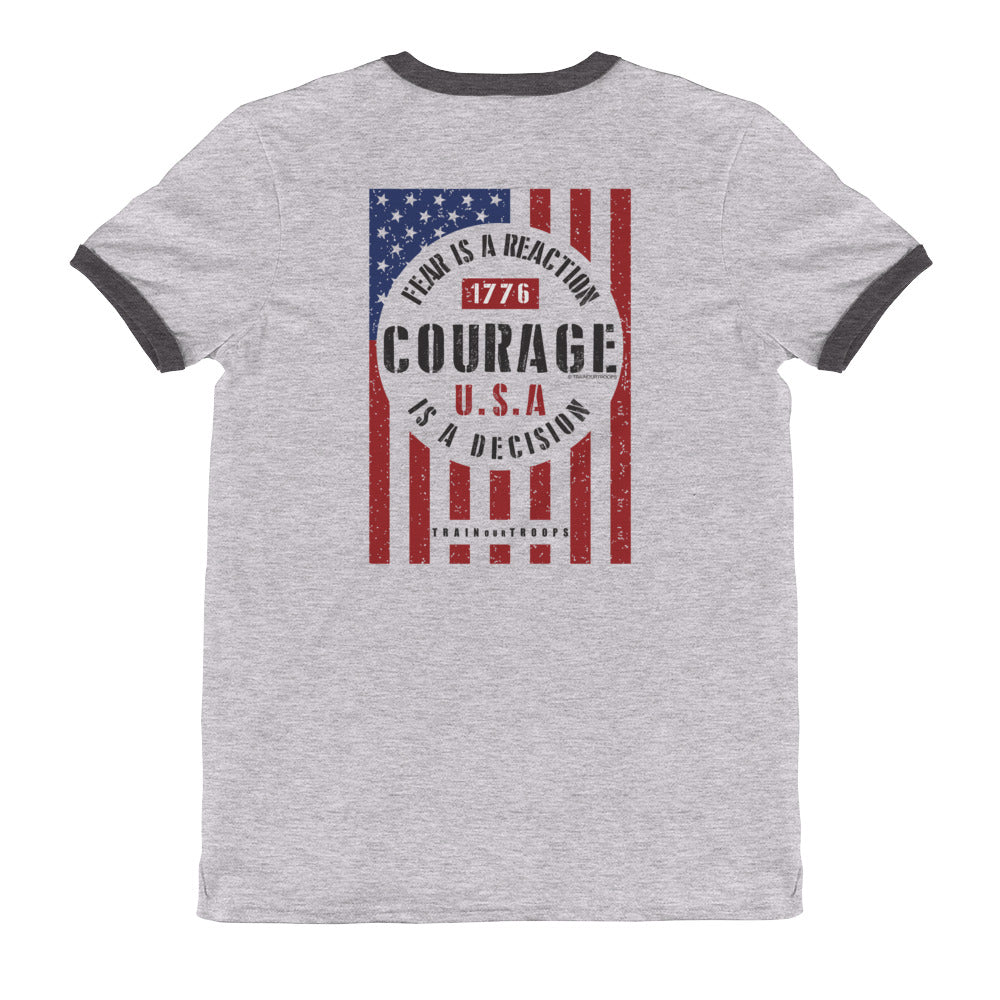 Men's Ringer Tee: Courage...-TrainOurTroops-TrainOurTroops