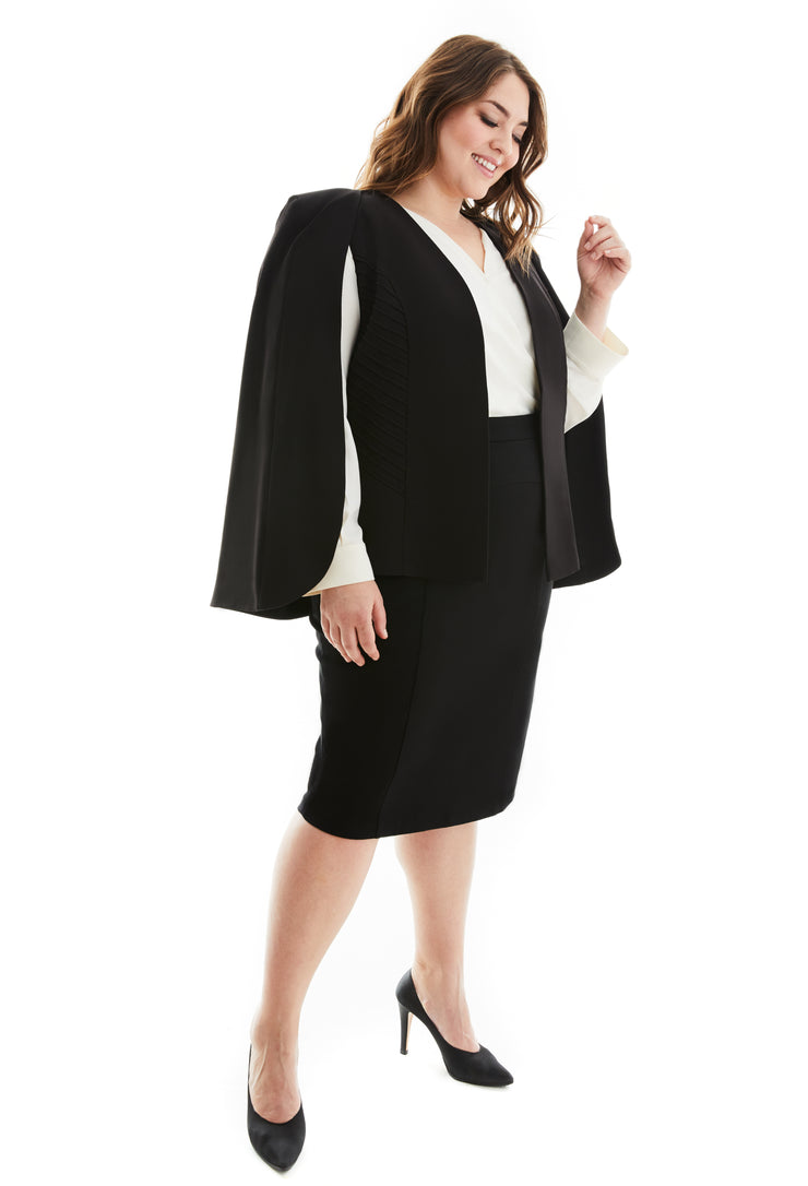 FREYA PLUS SIZE CAPE BLAZER