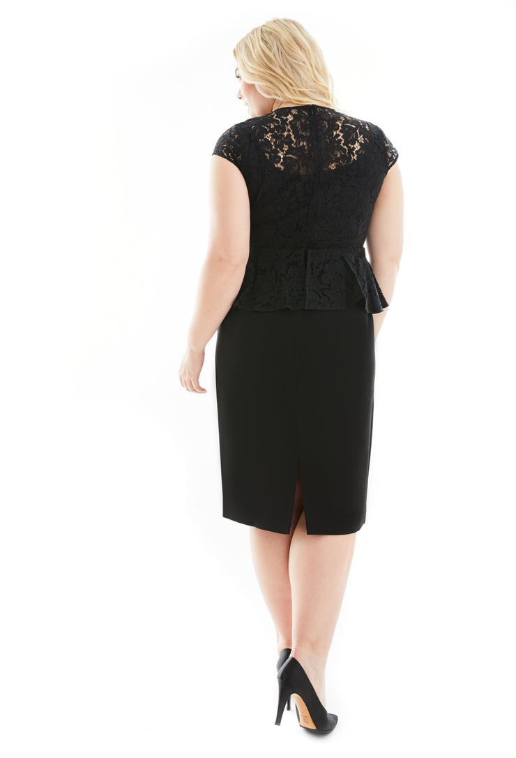 JULIA CAP SLEEVE LACE & CREPE PLUS SIZE LBD DRESS