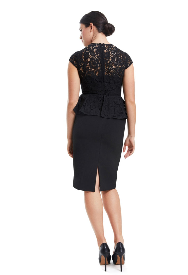 JULIA CAP SLEEVE LACE & CREPE LBD DRESS