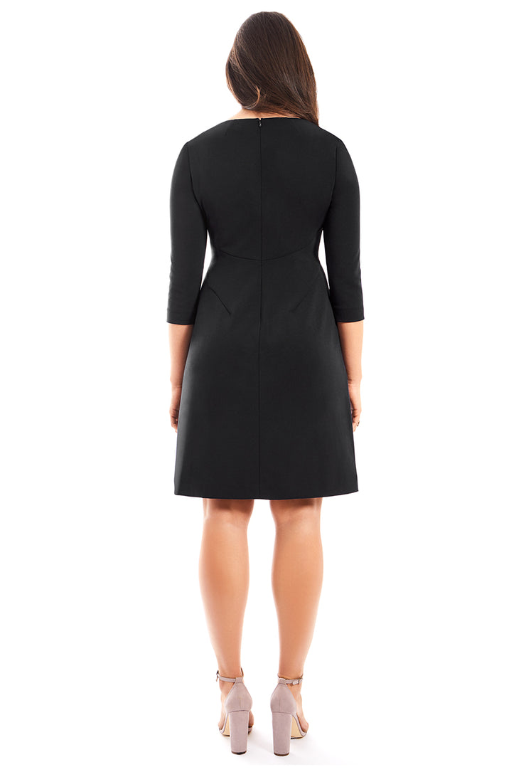 MARGARET THREE QUARTER SLEEVE A-LINE DRESS