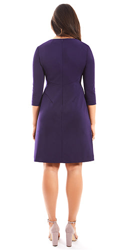 MARGARET THREE QUARTER SLEEVE PLUS SIZE A-LINE DRESS