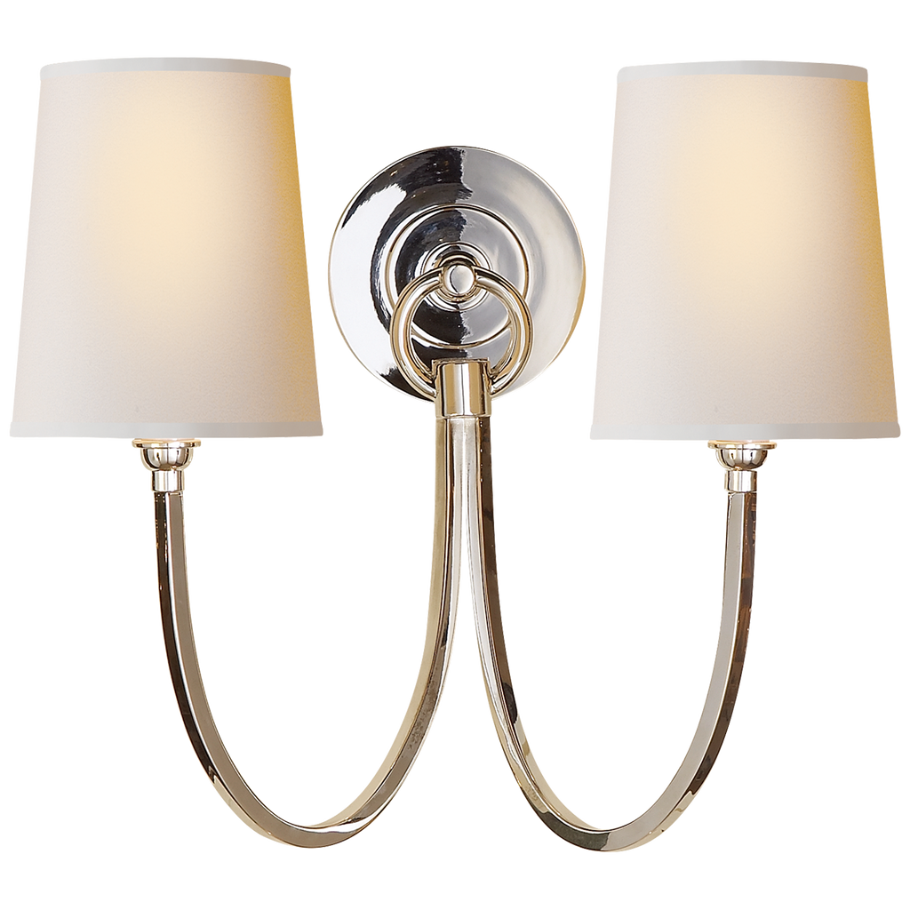 Reed Double Sconce in Polished Silver with Natural Paper Shades