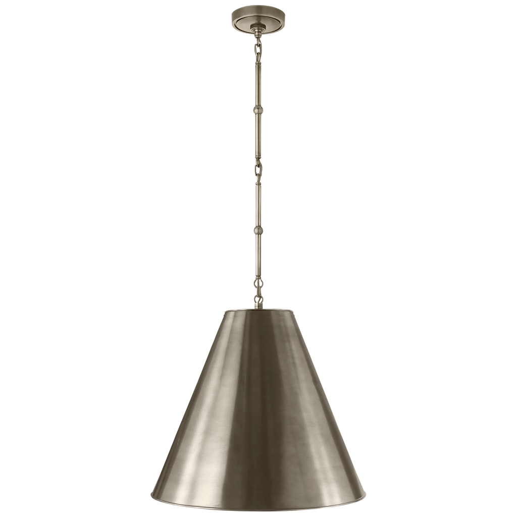 Goodman Medium Hanging Light in Antique Nickel with Antique Nickel Shade