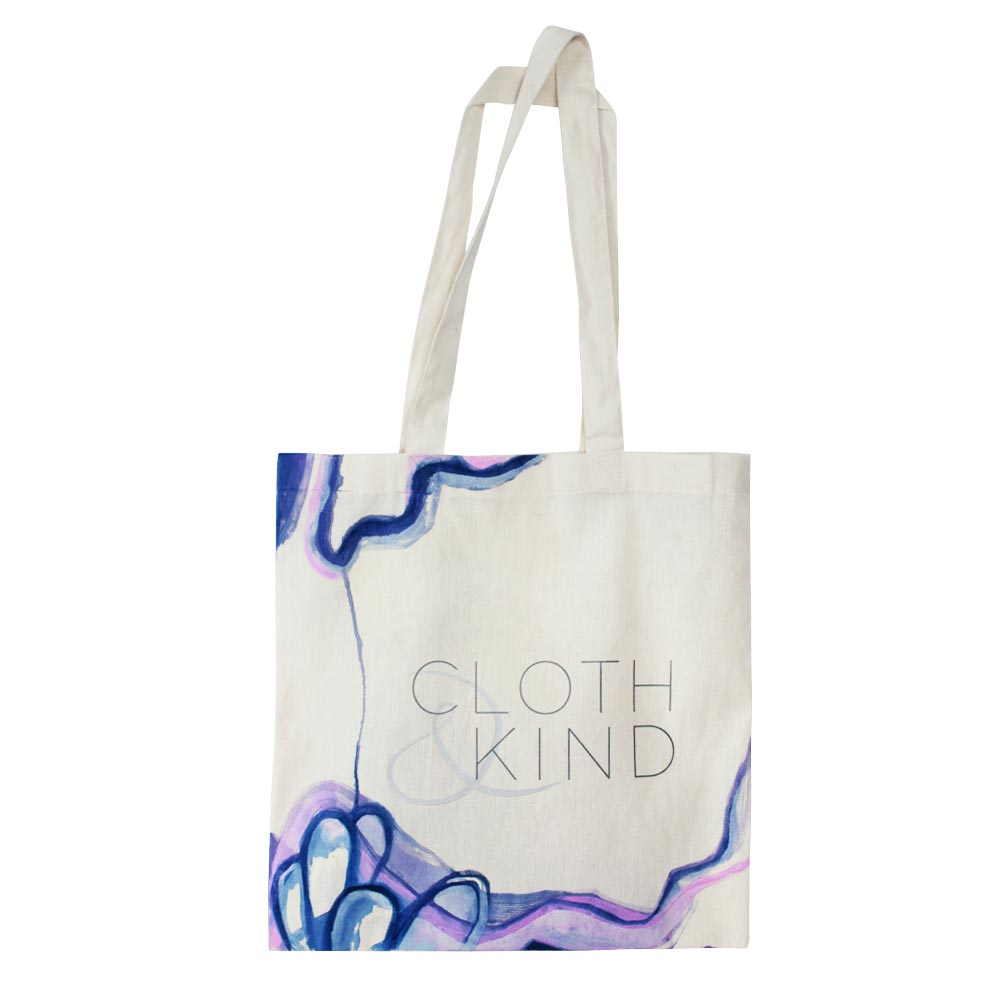 Mia Risberg Hand Painted CLOTH & KIND Cotton Tote I