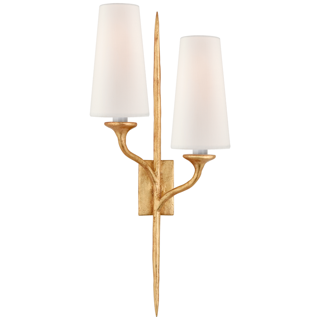 Iberia Double Sconce in Antique Gold Leaf with Linen Shades