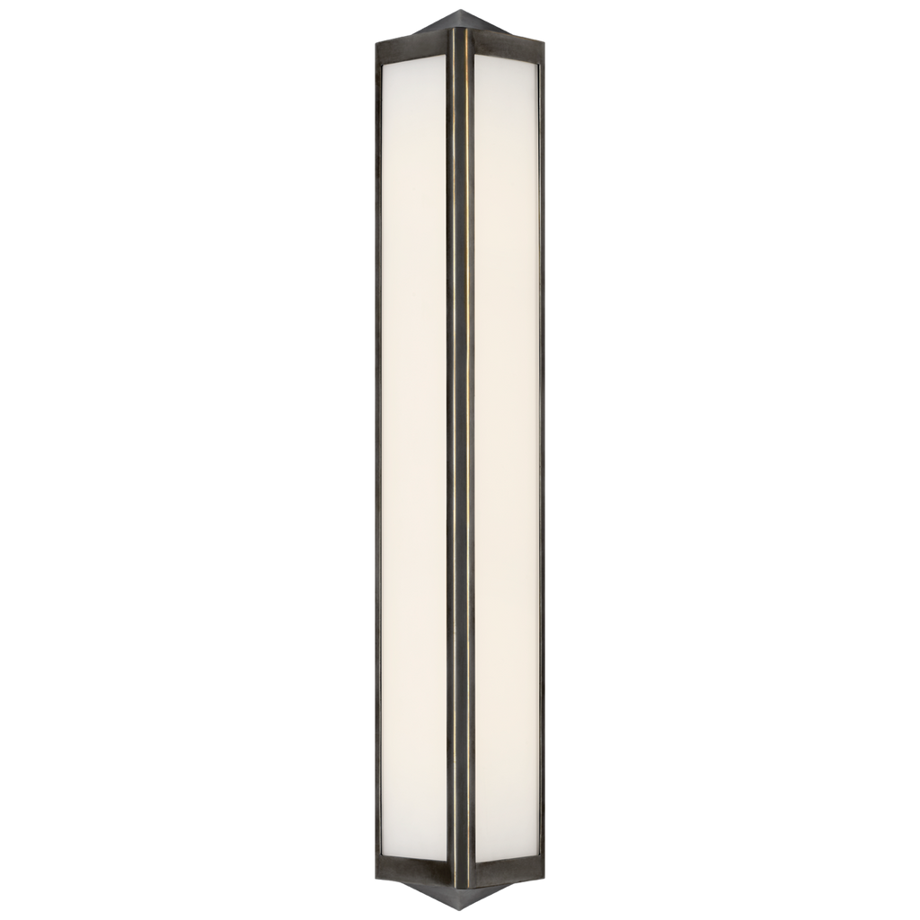 Geneva Medium Sconce in Bronze with White Glass