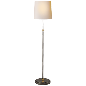 Bryant Floor Lamp in Bronze and Hand-Rubbed Antique Brass with Natural Paper Shade