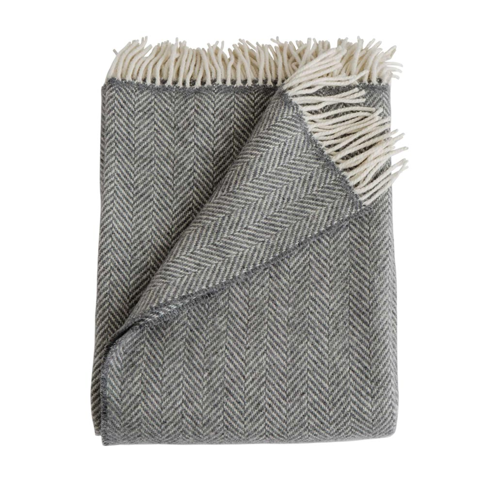 Graphite Merino/Cashmere Herringbone Throw