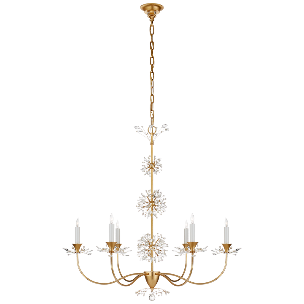 Aspra Medium Chandelier in Gild with Crystal Trim