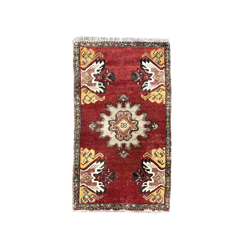 Red with Brown Flowers Oushak Mat