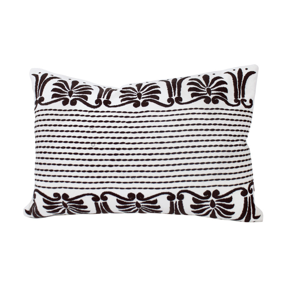 French Inspired Hand Embroidered Lumbar Pillow