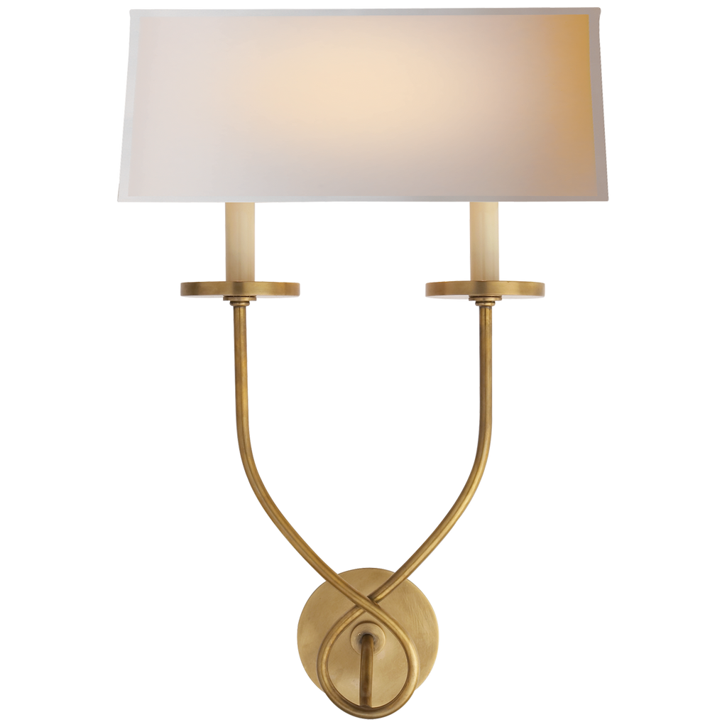 Symmetric Twist Double Sconce in Antique-Burnished Brass with Natural Paper Shade