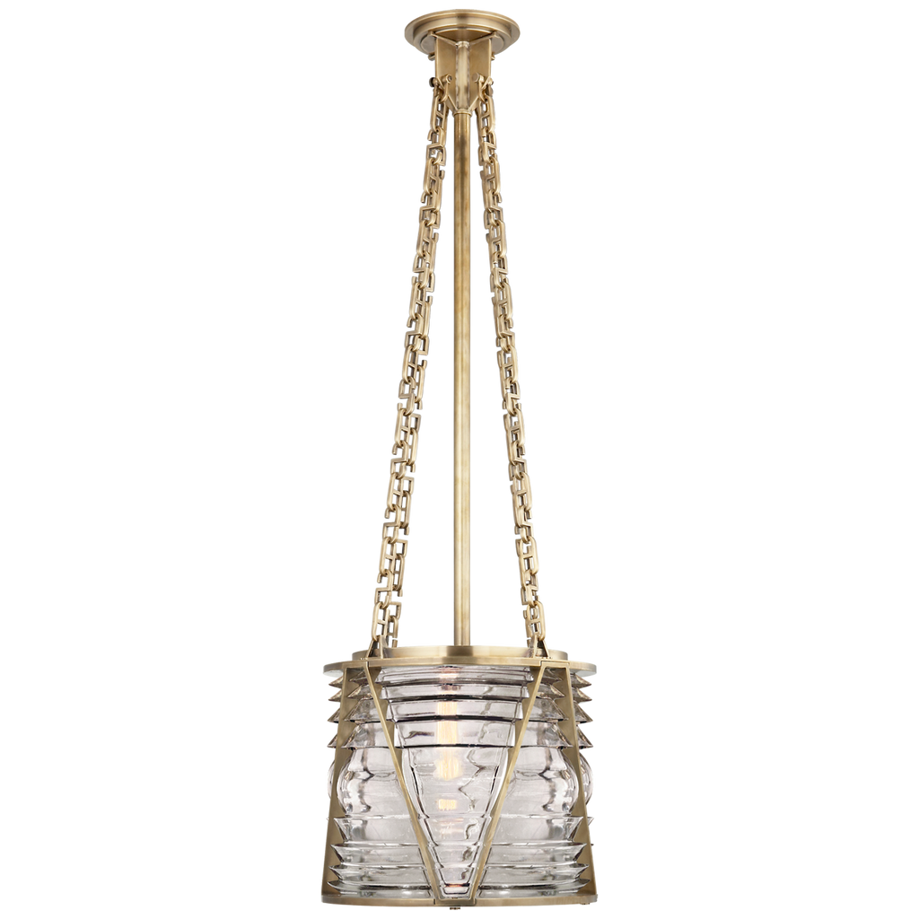 Chatham Small Lantern in Natural Brass with Clear Glass
