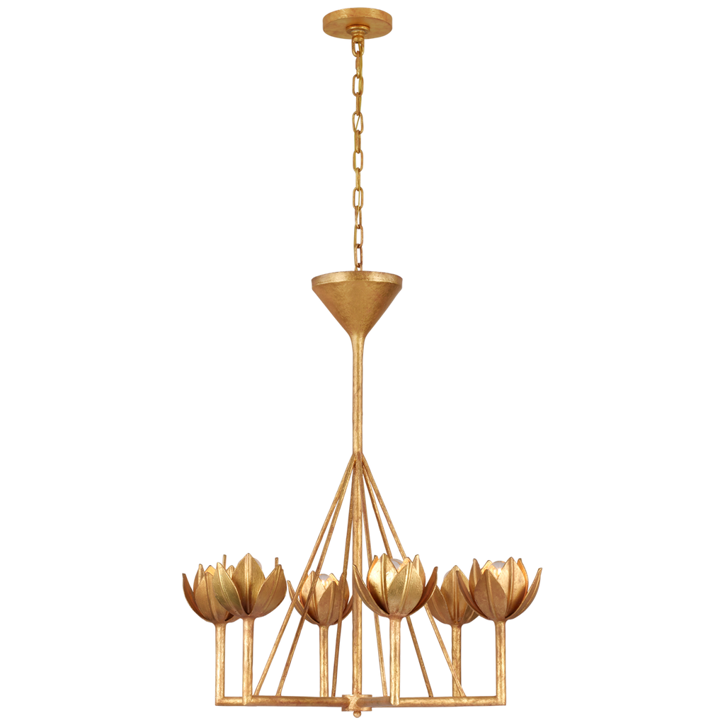 Alberto Small Single Tier Chandelier in Antique Gold Leaf