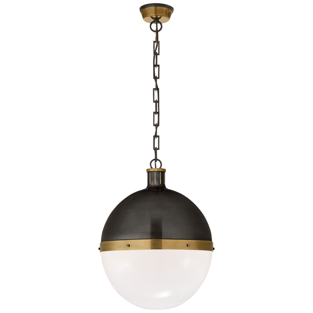 Hicks Extra Large Pendant in Bronze and Hand-Rubbed Antique Brass with White Glass