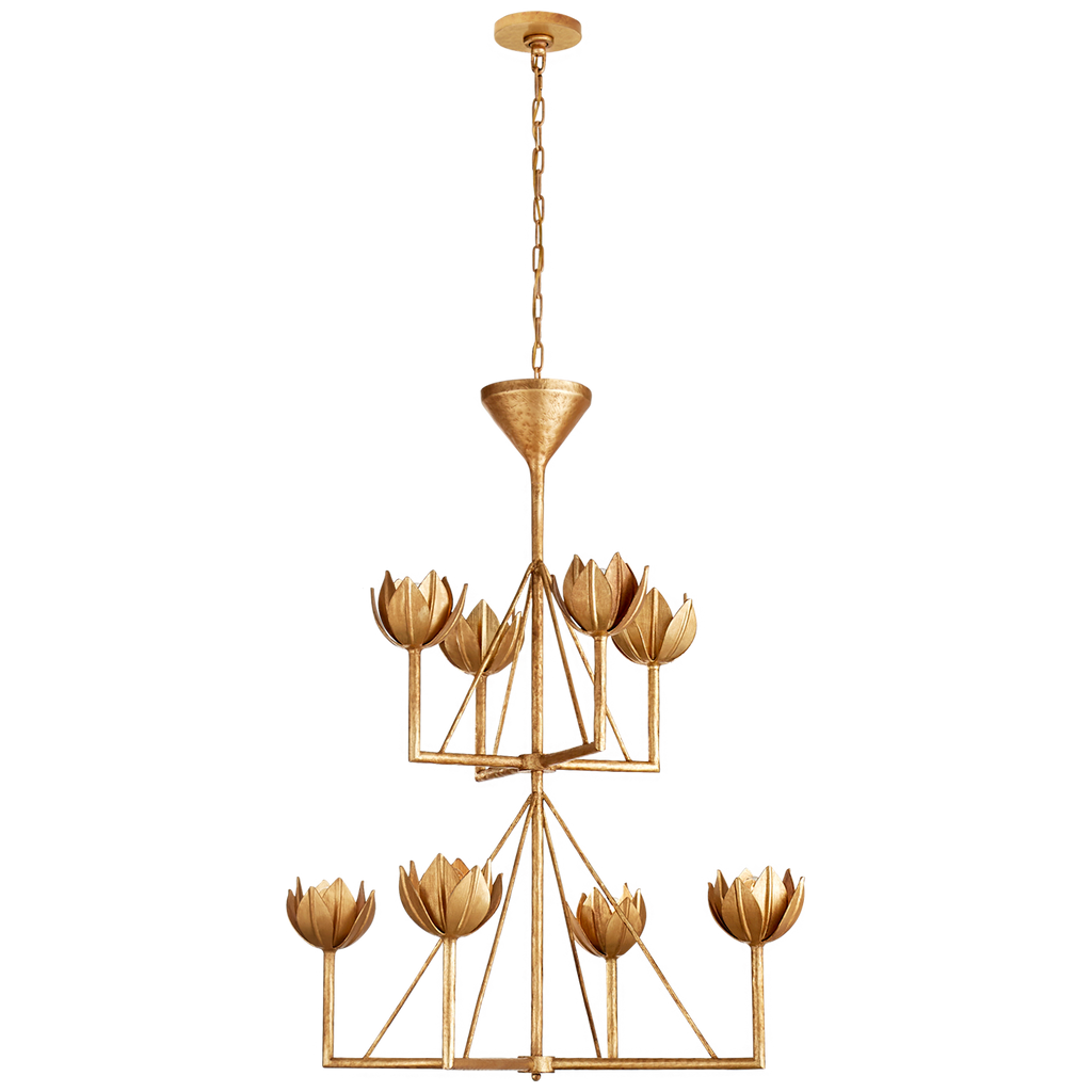 Alberto Medium Two Tier Chandelier in Antique Gold Leaf