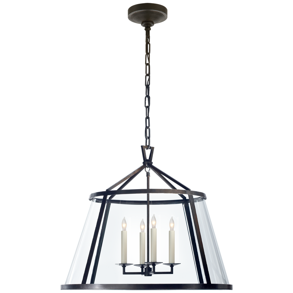 "Darlana 24"" Pendant in Aged Iron with Clear Glass"