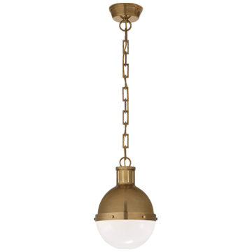 Hicks Small Pendant in Hand-Rubbed Antique Brass with White Glass