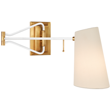 Keil Swing Arm Wall Light in Hand-Rubbed Antique Brass and White with Linen Shade