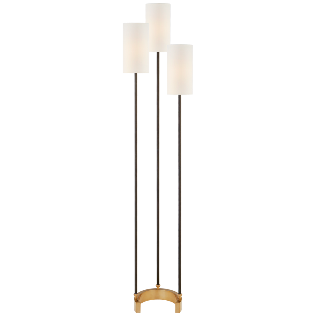 Aimee Floor Lamp in Bronze and Hand-Rubbed Antique Brass with Linen Shades