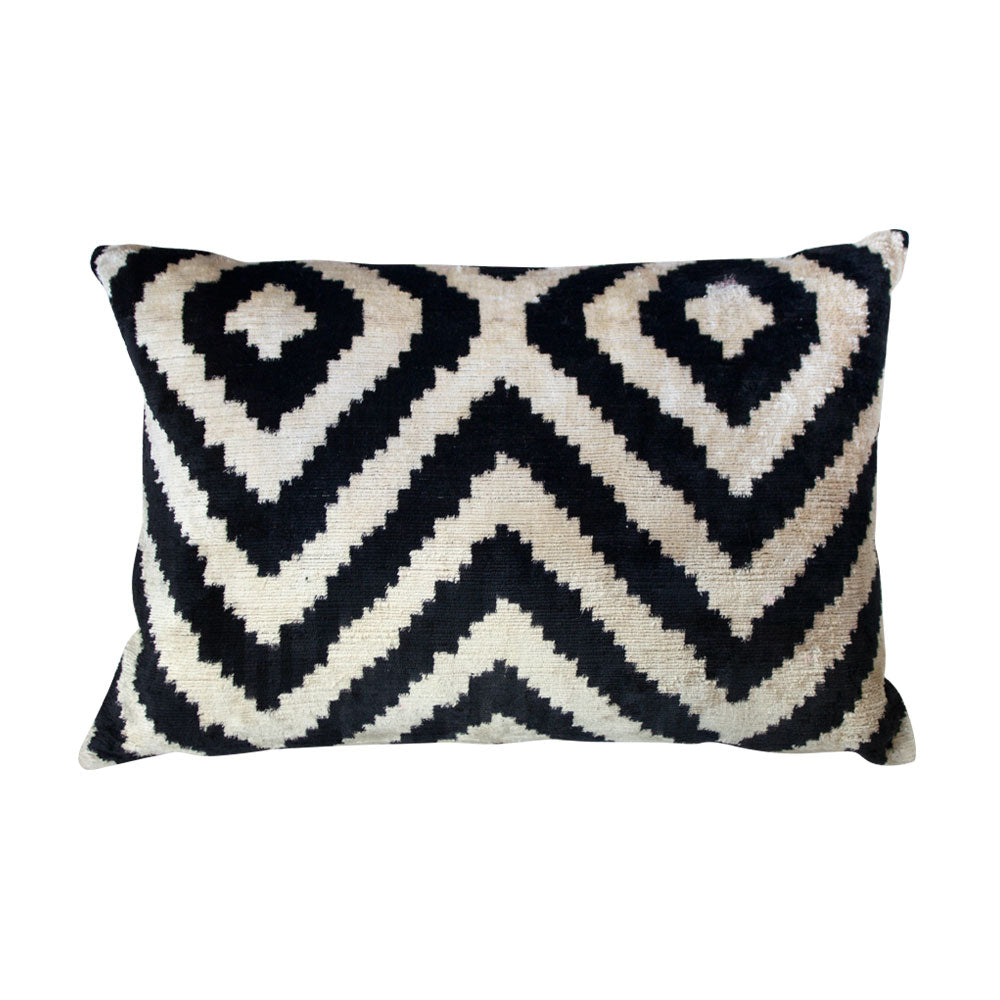 Diamond Ikat Silk Lumbar Pillow