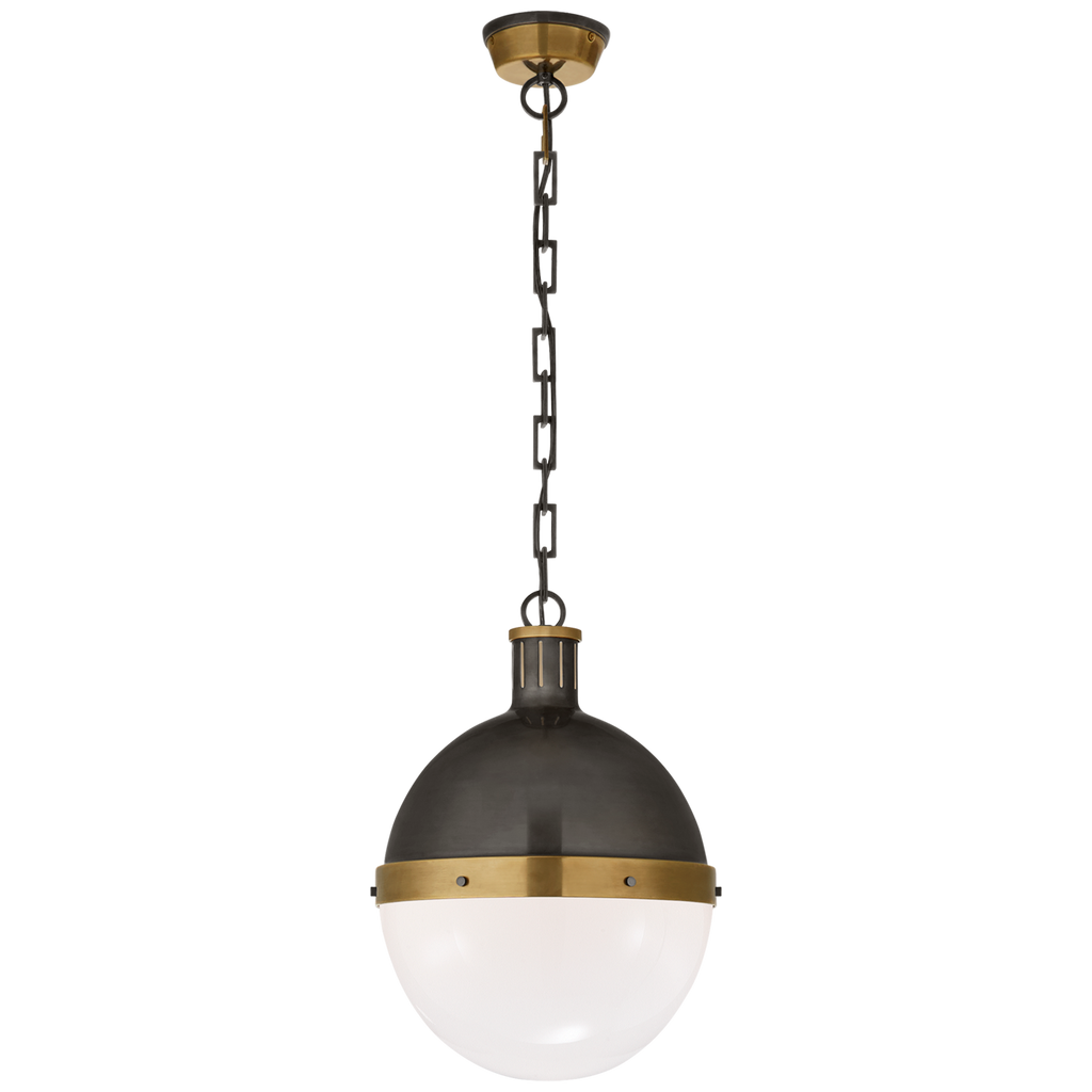 Hicks Large Pendant in Bronze and Hand-Rubbed Antique Brass with White Glass
