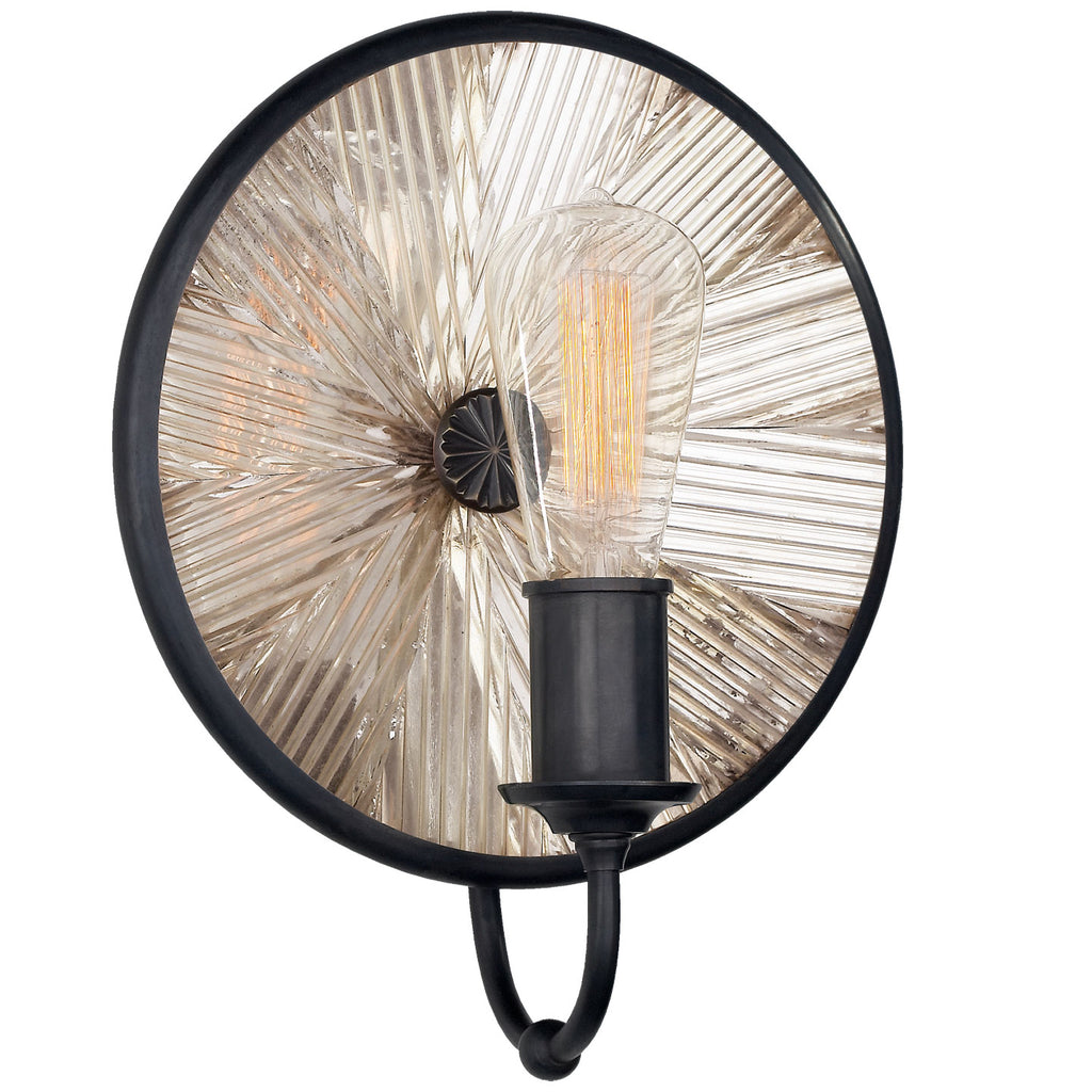 Rivington Small Round Sconce in Bronze with Ribbed Mirror