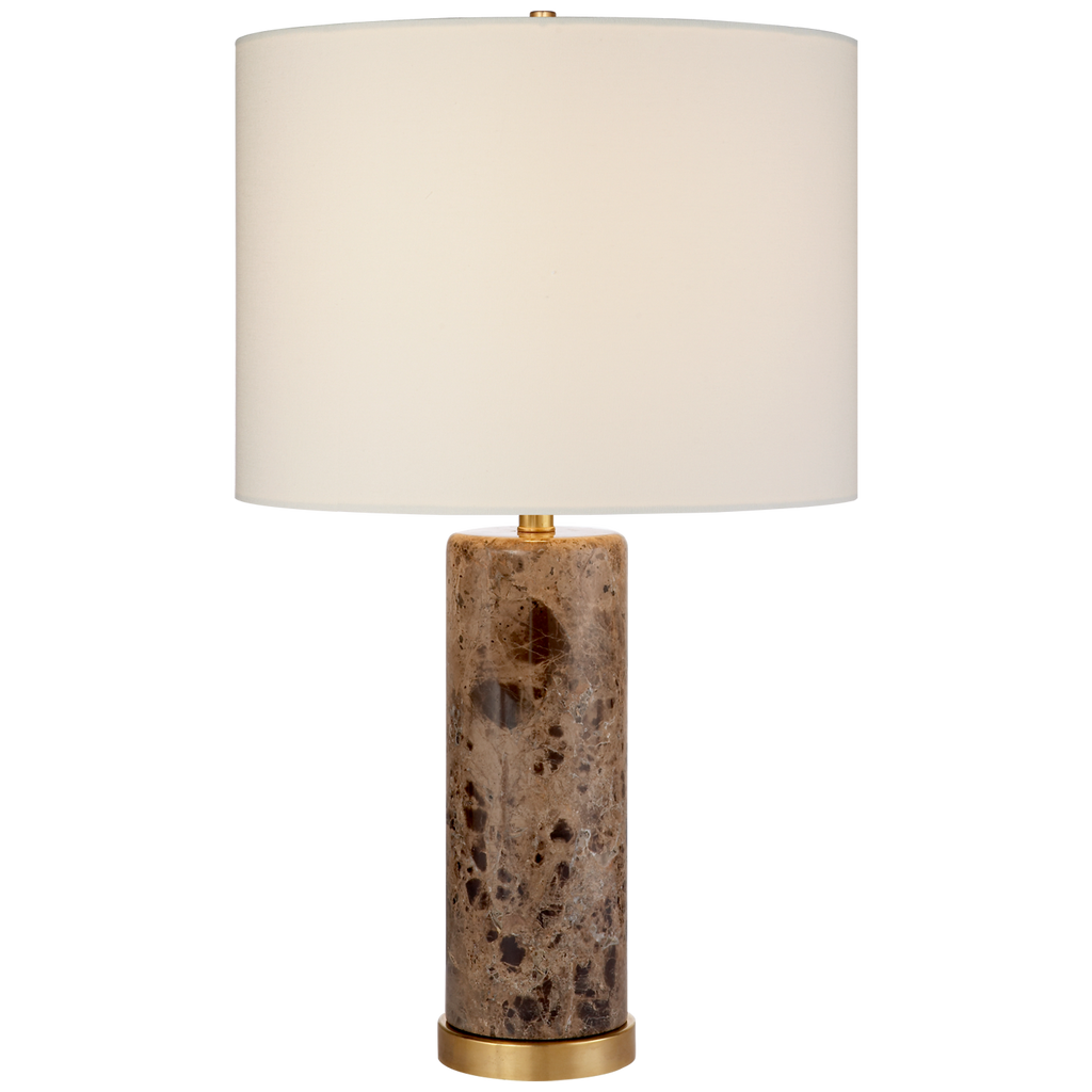 Cliff Table Lamp in Brown Marble with Linen Shade