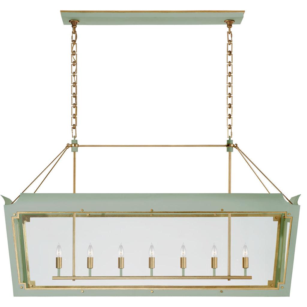 Caddo Large Linear Lantern in Celadon and Gild with Clear Glass