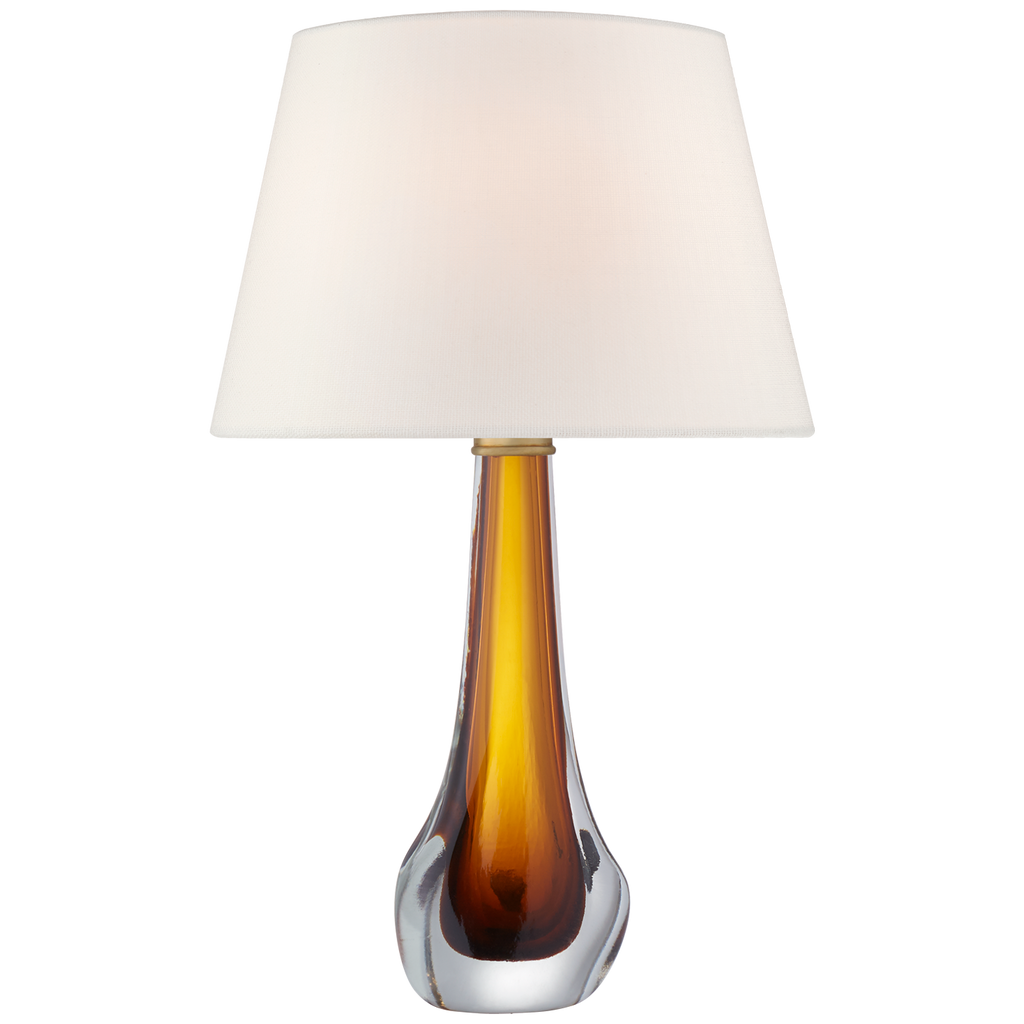 Christa Large Table Lamp in Amber Glass with Linen Shade