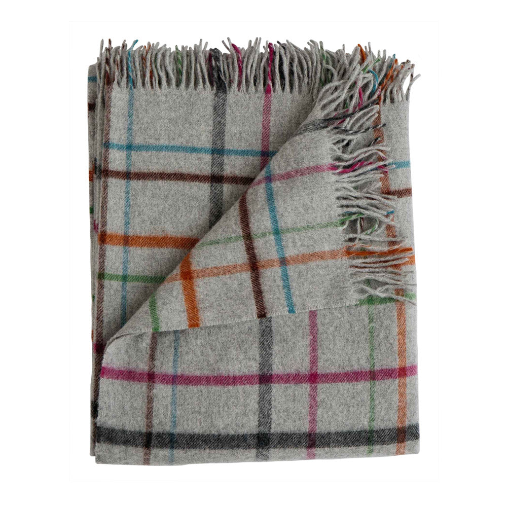 Plaid Merino Lambswool Throw Fog