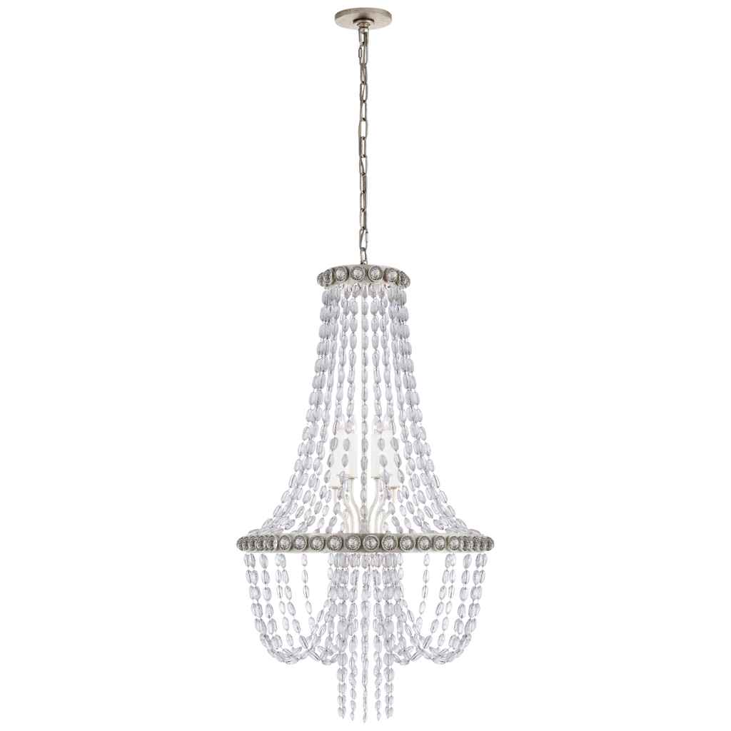 Navona Medium Basket Chandelier in Burnished Silver Leaf with Crystal