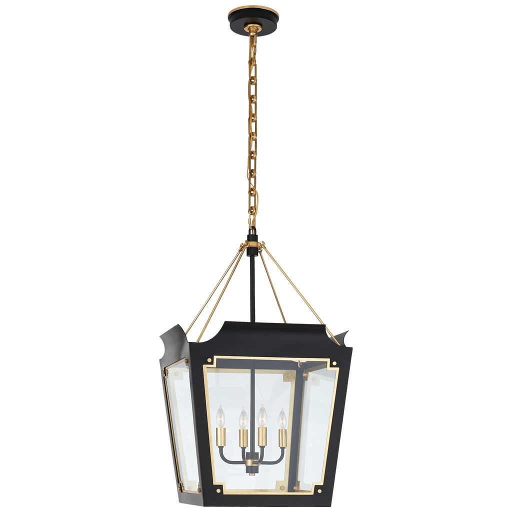 Caddo Medium Lantern in Matte Black and Gild with Clear Glass