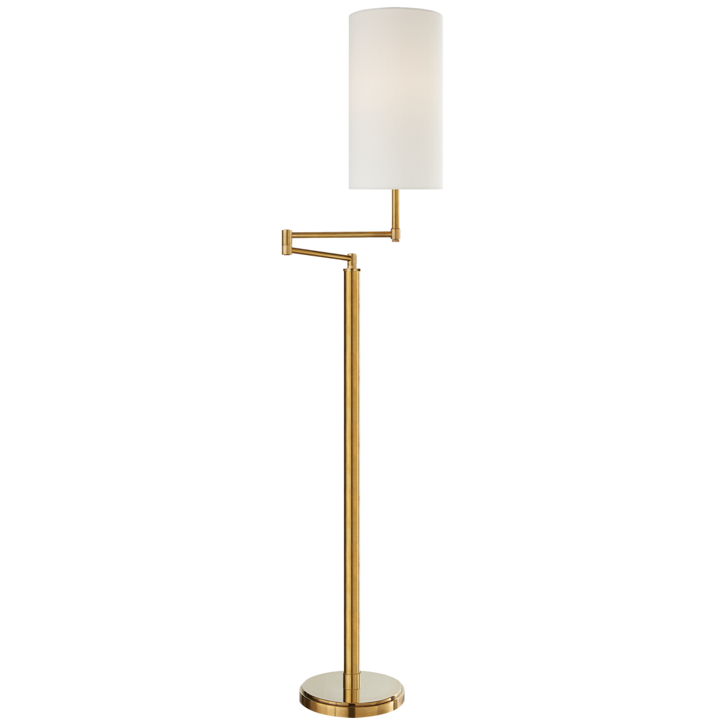 Anton Large Swing Arm Floor Lamp in Hand-Rubbed Antique Brass with Linen Shade