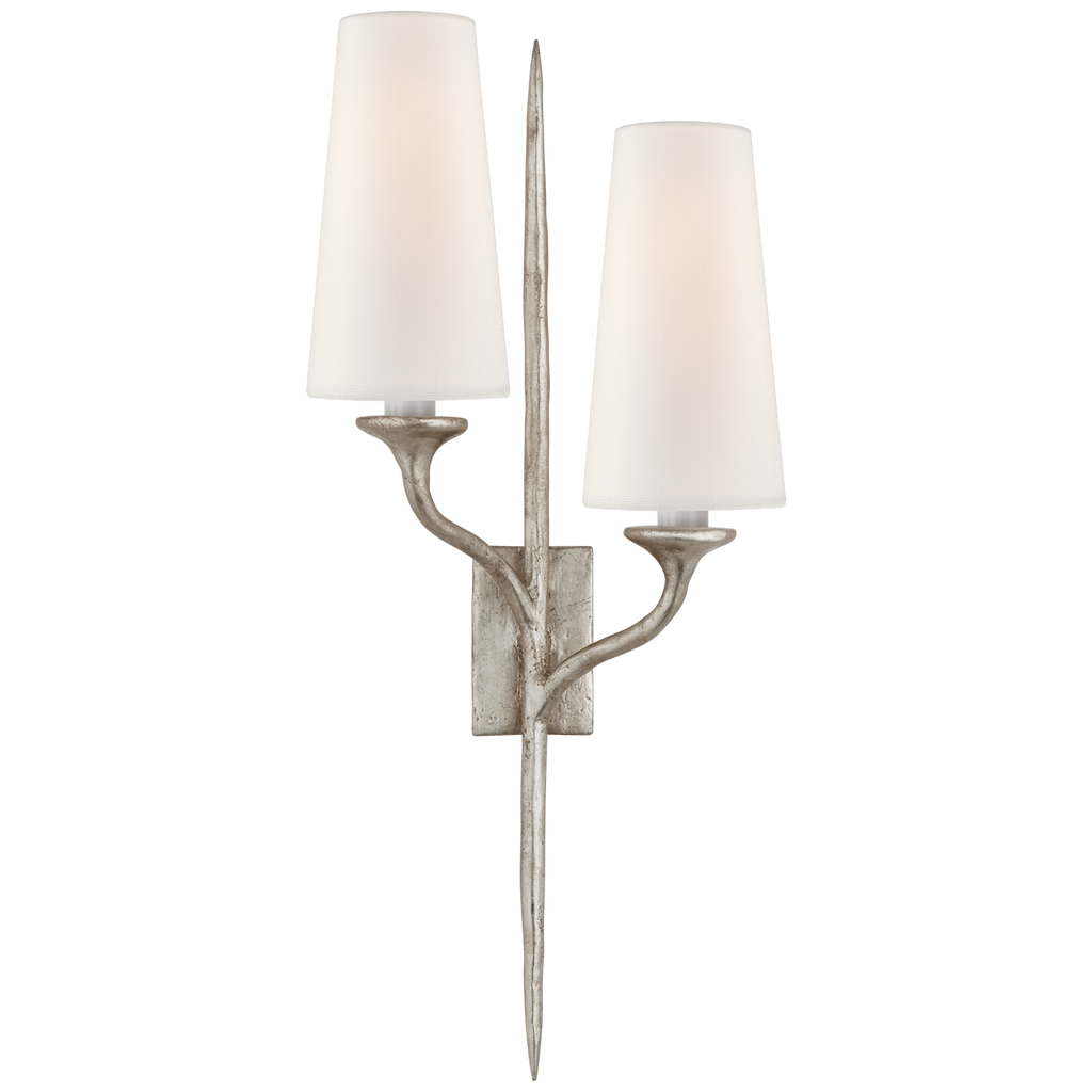 Iberia Double Sconce in Burnished Silver Leaf with Linen Shades