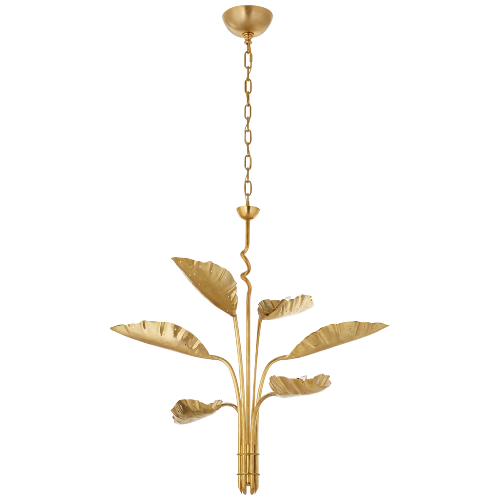 Dumaine Medium Pierced Leaf Chandelier in Antique-Burnished Brass