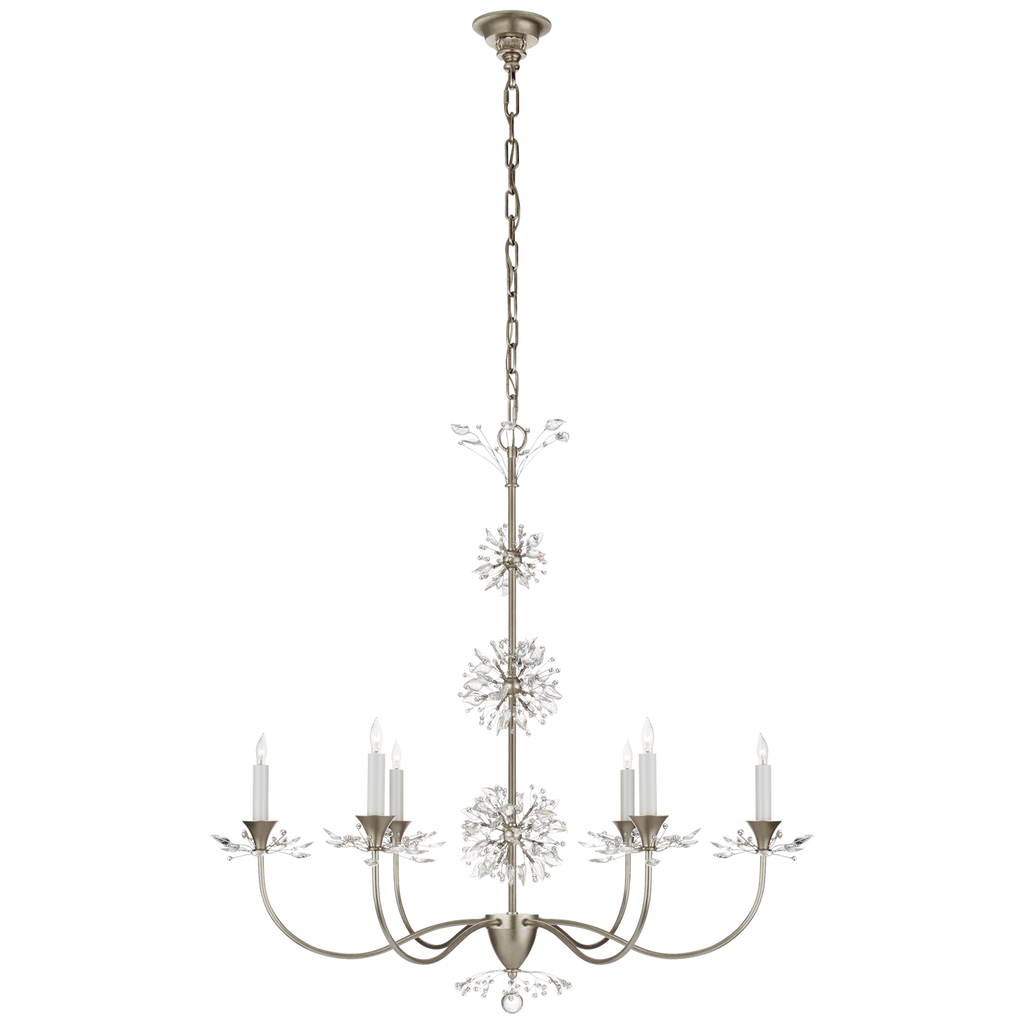 Aspra Medium Chandelier in Burnished Silver Leaf with Crystal Trim