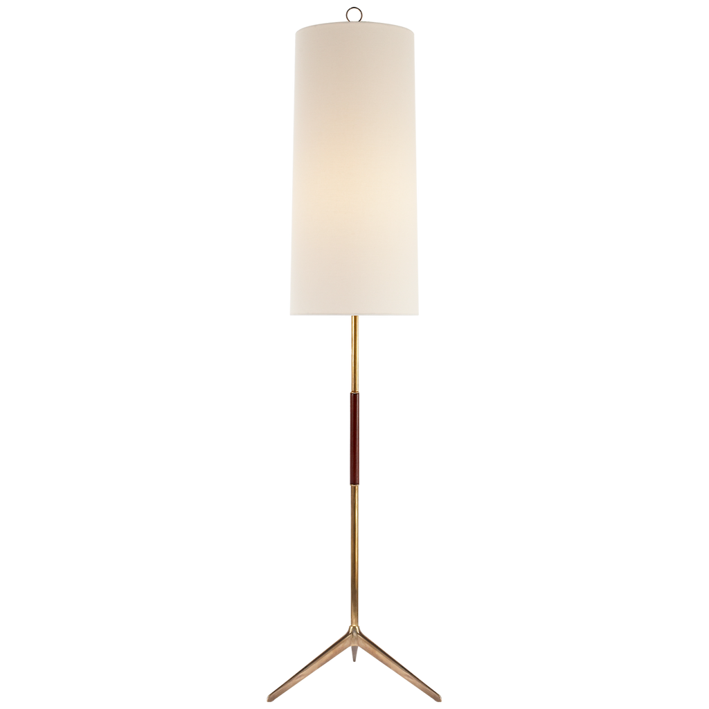 Frankfort Floor Lamp in Hand-Rubbed Antique Brass with Mahogany Accents and Linen Shade