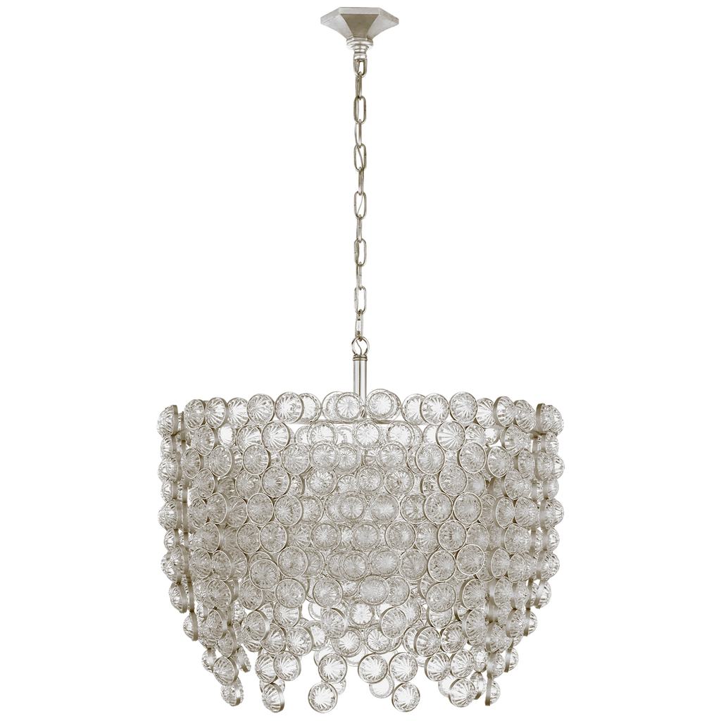Milazzo Medium Waterfall Chandelier in Burnished Silver Leaf and Crystal
